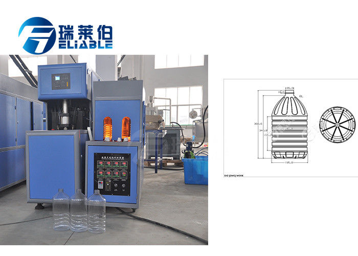 Low Noise Plastic Water Bottle Manufacturing Machine RM - 6L PLC Control